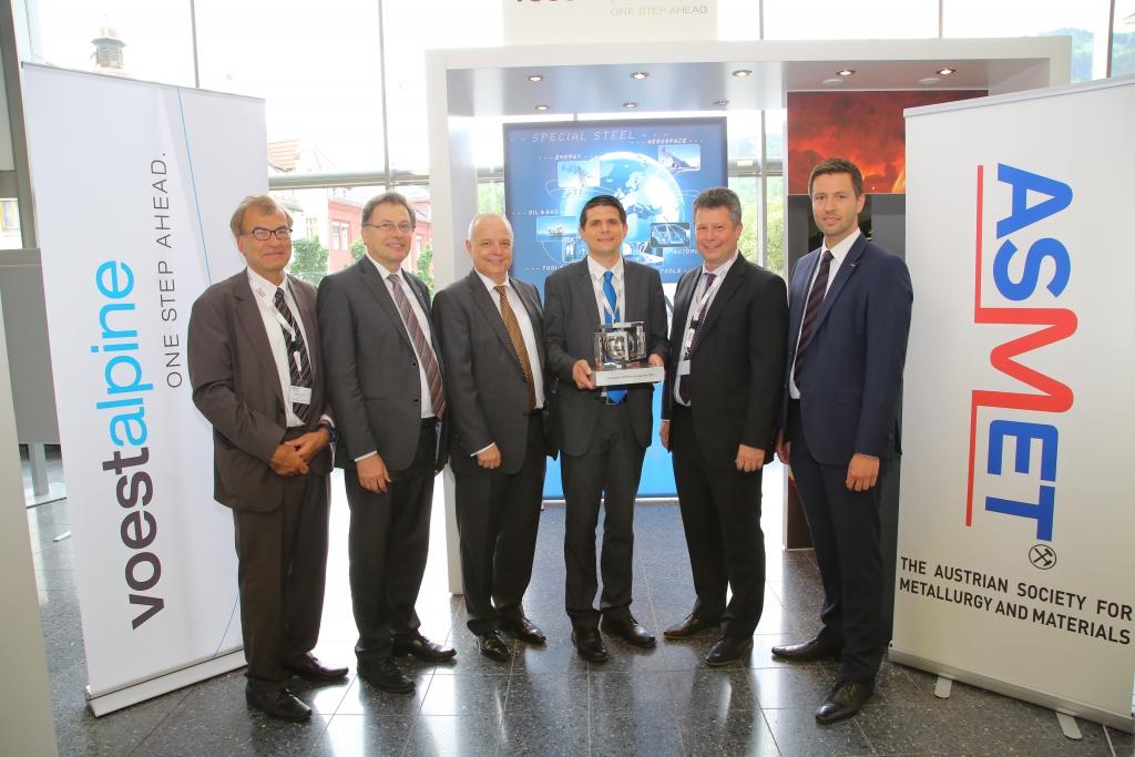 Verleihung des voestalpine Stahlforschungspreises (v.l.n.r. Bruno Hribernik, Wilfried Eichlseder, Franz Rotter, Ronald Schnitzer, Franz Michael Androsch & Martin Peruzzi)